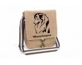 Für MenschenHunde Motiv Handtuch -watercolour-Shetland Sheepdog Canvas Schultertasche Tasche mit Hundemotiv und Namen