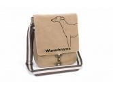 SchlüsselanhängerSchlüsselanhänger versilbertWhippet Canvas Schultertasche Tasche mit Hundemotiv und Namen