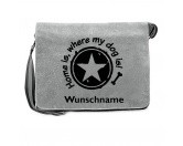 T-ShirtsFan-Shirts für HundefreundeCanvas Messenger: Spruch - Home is, where my dog is- grau