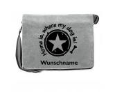 Bekleidung & AccessoiresFan-Shirts für HundefreundeCanvas Messenger: Spruch - Home is, where my dog is- grau