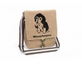 Aufkleber & TafelnBeagle 3 Welpe Canvas Schultertasche Tasche mit Hundemotiv und Namen
