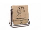 Für MenschenAuto-SonnenschutzBoxer Canvas Schultertasche Tasche mit Hundemotiv und Namen