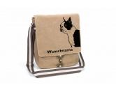 Aufkleber & TafelnAufkleber - On-LeinBoston Terrier Canvas Schultertasche Tasche mit Hundemotiv und Namen