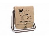 DuftbäumeHundemotiv DuftbäumeMops stehend Canvas Schultertasche Tasche mit Hundemotiv und Namen