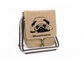 Leben & WohnenFußmatten & LäuferMops liegend Canvas Schultertasche Tasche mit Hundemotiv und Namen