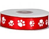Geschenk-VerpackungenPack-Pfötchen Serie: Geschenkband Pfötchen Satin Rot - Rolle 22meter