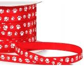 Geschenk-VerpackungenGeschenkband Pfötchen Satin Rot-Weiss - Rolle 45meter