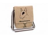 Für MenschenAuto-SonnenschutzBullterrier 2 Canvas Schultertasche Tasche mit Hundemotiv und Namen