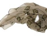 Schals für TierfreundeBaumwoll Fransen-Schal: Katze -BRAUN-