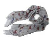 Schals für TierfreundeBaumwoll Fransen-Schal: Dackel Sausage Dog -GRAU-