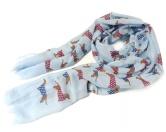 Schals für TierfreundeBaumwoll Fransen-Schal: Dackel Sausage Dog -BLAU-
