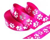 Geschenk-VerpackungenGeschenkband Satin: PINK Pfötchen Pfote silber