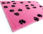 Dry-Bed - mehrfarbig - antirutschDry-Bed: ROSA mit schwarzen Pfötchen 100x75cm