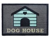 Tierische FußmattenPREMIUM Hunde Fußmatte: Dog House - 50 x 75 cm grau