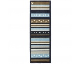 Tierische FußmattenPREMIUM Hunde Fußmatte Läufer Küchenmatte: Pfote Streifen - 50 x 150 cm blau-oliv