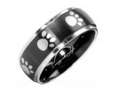 Für Menschen% SALE %Energy and Life Magnetschmuck -  Pfötchen Ring schwarz silber
