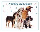SchnäppchenFutterplatz-Matte & Napf Unterlage: Hund - Barking Good Supper 545 x 420 mm