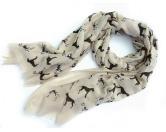 Schals für TierfreundeBaumwoll Fransen-Schal: Deutsche Dogge - BEIGE
