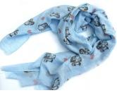 Schals für TierfreundeBaumwoll Fransen-Schal: Shi Tzu - BLAU
