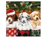 WeihnachtenPapier-Servietten: Hunde Welpen X-mas Doggies  20 Stck 33 x 33 cm