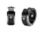 Für MenschenNostalgische GeschenkartikelEnergy and Life Magnetsschmuck - Ohrringe Pfötchen -schwarz- silber