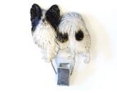 Hundeausstellungs-Startnummern-Clip: Papillon schwarz weiss