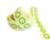 Geschenk-VerpackungenGeschenk Aufkleber - Etikett: Pfote Grün -rund- 3cm
