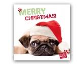 WeihnachtenMyrna Weihnachtskarte: Mopsige Weihnachten -  Welpe