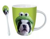 Schenken & ZubehörKleinigkeiten die Freude machenHunde Motiv Tasse: Kermit Mops + GRATIS LÖFFEL
