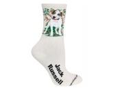 Tierische-FigurenVersilberte Hunde-FigurenHunde Rasse Socken: Jack Russell Terrier -creme-
