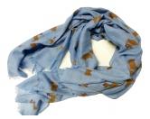Schals für TierfreundeBaumwoll Fransen-Schal: Welsh Corgi - BLAU