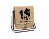 Taschen & RucksäckeShopper für HundefreundeBorder Collie Canvas Schultertasche Tasche mit Hundemotiv und Namen