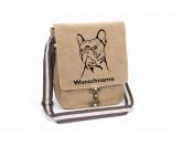 Küche & HaushaltThermoflaschenFranzösische Bulldogge 2 Canvas Schultertasche Tasche mit Hundemotiv und Namen