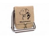 Aufkleber & TafelnGolden Retriever Canvas Schultertasche Tasche mit Hundemotiv und Namen