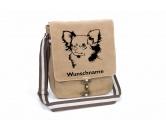 Warnwesten & SicherheitswestenWarnwesten mit Hunderasse MotivenChihuahua Canvas Schultertasche Tasche mit Hundemotiv und Namen