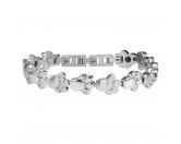 Für MenschenNostalgische GeschenkartikelEnergy and Life Magnetschmuck - Armband 4in1 Pfote - Pfötchen -silber-