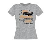 Bekleidung & AccessoiresFan-Shirts für HundefreundeDamen T-Shirt: Spruch Hundeblick - L grau orange EINZELSTÜCK