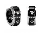 Für TiereKühlartikel für HundeEnergy and Life: Magnet Ohrringe Pfötchen schwarz silber -Zirkonia-