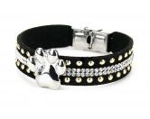 Schmuck & AccessoiresPfötchen SchmuckHundefan Armband Strass mit Pfote - schwarz