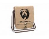AusstellungszubehörHunderassen Ringclips vergoldetBobtail Canvas Schultertasche Tasche mit Hundemotiv und Namen