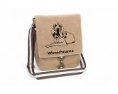 Aufkleber & TafelnAufkleber - On-LeinBloodhound 2 Canvas Schultertasche Tasche mit Hundemotiv und Namen