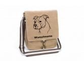 Taschen & RucksäckeCanvas Tasche HunderasseAmerican Staffordshire Terrier -unkupiert- Canvas Schultertasche Tasche mit Hundemotiv und Namen