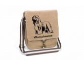 RucksäckeCanvas Rucksack HunderassenBearded Collie Canvas Schultertasche Tasche mit Hundemotiv und Namen