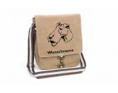 AusstellungszubehörHunderassen Ringclips vergoldetFoxterrier Drahthaar 2 Canvas Schultertasche Tasche mit Hundemotiv und Namen