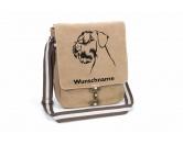 Warnwesten & SicherheitswestenWarnwesten mit Hunderasse MotivenRiesenschnauzer 1 Canvas Schultertasche Tasche mit Hundemotiv und Namen