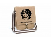 Selbstklebende KreidetafelnHundeBerner Sennenhund 4 Canvas Schultertasche Tasche mit Hundemotiv und Namen