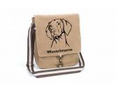 AusstellungszubehörHunderassen Ringclips vergoldetMagyar Vizsla Canvas Schultertasche Tasche mit Hundemotiv und Namen