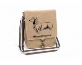 SchlüsselanhängerSchlüsselanhänger versilbertDackel Langhaar Canvas Schultertasche Tasche mit Hundemotiv und Namen
