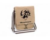 Für Menschen% SALE %Spanischer Wasserhund Perro de Agua Español Canvas Schultertasche Tasche mit Hundemotiv und Namen
