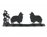 AusstellungszubehörHunderassen Ringclips vergoldetShetland Sheepdog Leinengarderobe - Schlüsselbrett 6 Haken